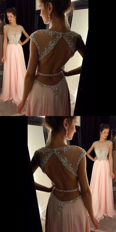 A-line round neck sequin long pink prom dress, Pink Chiffon Sequin Prom Dress, Blush Pink Prom Dresses, Prom Dresses 2017, Backless Prom Dresses, Grad Dresses, Bridesmaid Dresses, Formal Dresses, Bridesmaids, Pretty Dresses, Beautiful Dresses