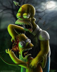 Homer and Bart Simpson I figured i will paint my childhood fav cartoon heroes ( or at least some of them ) I wanted to keep them recognizable. Homer and Bart Simpson Zombie Cartoon, Zombie Art, Zombie Life, Arte Horror, Horror Art, Chewbacca, The Simpsons, Caricatures, Zombie Vampire