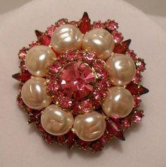 Vintage 1950-60s Pink Rhinestone & Faux Freshwater Pearl Mad Men Brooch SOLD