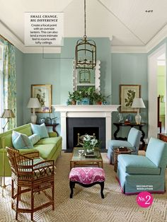 Blue Living room with Green and Pink Accents. Pull Out a Bold Accent Color - 102 Living Room Decorating Ideas - Southern Living Living Room Green, Living Room Colors, Home And Living, Living Room Designs, Blue Living Room Walls, Cozy Living, Small Living, Living Area, Living Room Furniture