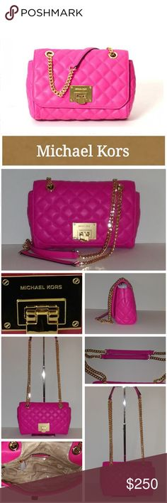 """NWT Michael Kors Vivianne Crafted in quilted raspberry leather  Flap top with push-lock clasp closure  Braided gold tone chain link and leather cross-body straps with approx.13"""" or 24"""" drop,  Chain strap can be worn long or doubled at the shoulder  Modern high polished gold tone hardware  Exterior - full length back slip pocket with magnetic snap closure  Interior - MK signature polyester fabric lining  1 zip pocket and 1 multi-function slip  Excellent condition.  Never used.  Smoke free…"""
