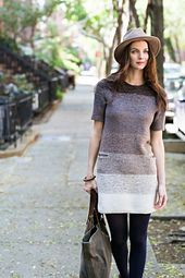Ebb is a flirty throwback to the Sixties mini dress, with a marled gradient… Brooklyn Tweed, Ombre Fabric, Angora, Work Tops, Knit Patterns, Knit Dress, Knitwear, Knit Crochet, Street Style