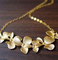 Orchid Gold Necklace 14k delicate flowers