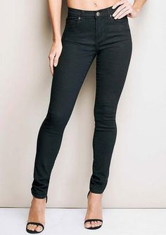 Super-stretch high rise skinny jean with back patch pockets.