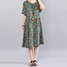 Retro Floral Printing Women Loose Casual Cotton Summer Green Dress