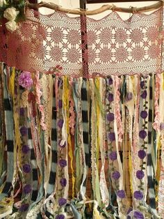 Boho Garland Curtain Gypsy Hippie Glamping Junk Shower Rag Backdrop 7 Foot Long