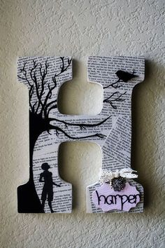 To Kill A Mockingbird theme Painted Wooden Wedding or Nursery Initial Monogram Letters - LolaMonkey on Etsy Letter A Crafts, Letter Art, Monogram Letters, Book Crafts, Fun Crafts, Arts And Crafts, Craft Letters, Decorating Letters, Decorate Wooden Letters