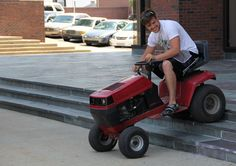 Sigma Chi utilized a kinetic visual aid to promote their lawnmower races.