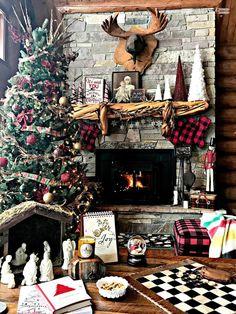 Christmas Mantle, Log Cabin, Cabin, Buffalo Plaid, Rustic Christmas, Stone Fireplace, Nativity