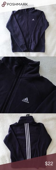 Stripes on Back!! Adidas Purple Jacket Could fit XS/S No flaws, just a little faded <I give a bundling discount for everything in my closet!> adidas Tops Sweatshirts & Hoodies