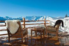 Outdoor drinks, apres ski, chalet view.