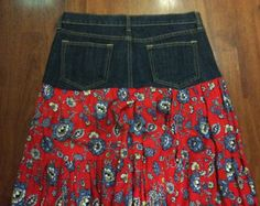 Up-cycled Peasant Skirt, Old Navy Jeans meet Ruffled Tiered Skirt, Misses Size 10 - SOLD