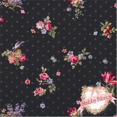 """Lakehouse Penelope 11043 Onyx by Holly Holderman for Lakehouse Dry Goods: Lakehouse Penelope 4, 5, 6 by Holly Holderman for Lakehouse Dry Goods.  100% cotton, 44""""/45"""" wide.  This fabric features tossed flowers and dots on black."""