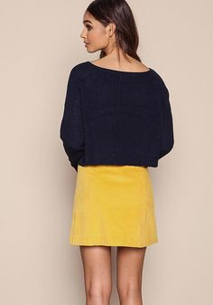 Navy Cropped Knit Sweater