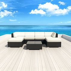 Luxxella Patio Outdoor Wicker Furniture Sunbrella Genuine Collection Mallina 7piece Couch Sectional Sofa Set Canvas Natural 5404 -- Continue reading at the image link.