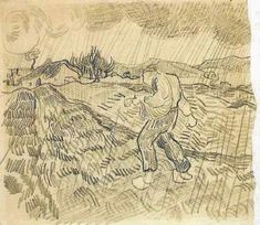 vincentvangogh-art:  Enclosed Field with a Sower in the Rain, 1889 Vincent van Gogh