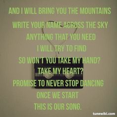 """""""Our Song"""" by Ron Pope. This is a beautiful song. My Love Song, Love Songs Lyrics, All Songs, Ron Pope, Heartstrings, Maybe One Day, Beautiful Songs, Coldplay, I Need You"""
