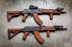 AKs all dressed up in MagPul. Shout out to for the image Tt Pistol, Ak 74, Assault Rifle, Cool Guns, Airsoft Guns, Guns And Ammo, War Machine, Tactical Gear, Shotgun