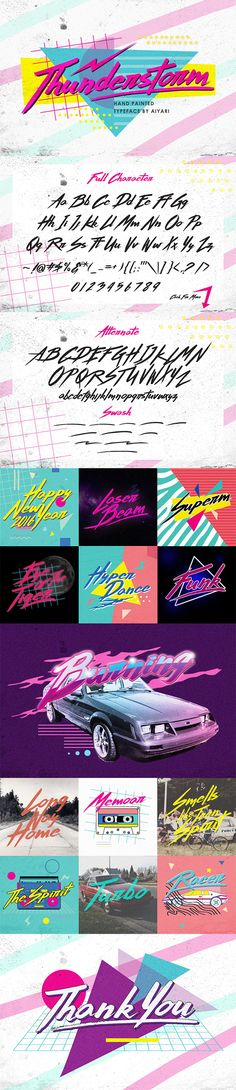 A hand-made brush typeface inspired by 80s-90s music, retro, disco, grunge, and pop culture.  • Only available here! ➝ https://graphicriver.net/item/thunderstorm/14351926?ref=pxcr