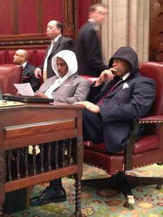 New York State Senator Eric Adams and his colleagues honored Trayvon Martin on Monday by wearing hoodies to the March 26, 2012 Senate legislative session in Albany