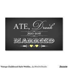 Vintage Chalkboard Style Wedding Favor Tag Yellow Double-Sided Standard Business Cards (Pack Of 100)