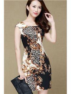 elegante sexy vestidos ajustados leopardo vaina vestidos