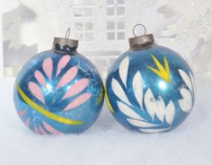 Christmas Ornaments Vintage Teal Blue by RelicsAndRhinestones, $10.00