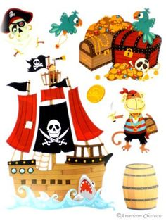 Pirate Wall Decals Kids Vinyl Room Decor Nursery Decal Mural Ship Sticker Art by American Chateau. Pirate ideas.