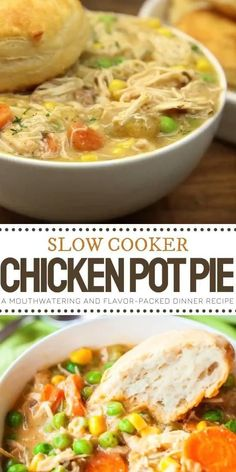 Slow Cooker Chicken Pot Pie is an all-time family favorite! It couldn't be easier to make this recipe that marinates seasoned pulled chicken and fresh-cut veggies all day for a mouthwatering meal packed with amazing flavor and aroma. Add this to your dinner menu ideas! Crock Pot Recipes, Slow Cooker Recipes, Cooking Recipes, Crockpot Chicken Pot Pie Recipe, Slow Cooker Alfredo Chicken, Slow Cooker Chicken Pot Pie Recipe, Chicken Crock Pot Meals, Meals With Chicken, Instapot Soup Recipes