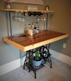 Repurposed Sewing Table Bar by BillyGoatFurniture on Etsy