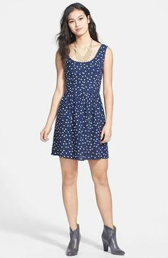 BeBop Heart Print Fit & Flare Dress (Juniors) available at #Nordstrom