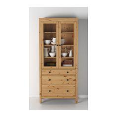 HEMNES Glass-door cabinet with 3 drawers, light brown light brown 35 3/8x77 1/2