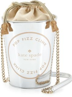place your bets champagne bucket bag, silver by kate spade new york at Neiman Marcus. Kate Spade Handbags, Kate Spade Purse, Spade Champagne, Cross Shoulder Bags, Bucket Purse, Champagne Buckets, Handbag Accessories, Canvas Tote Bags, New York