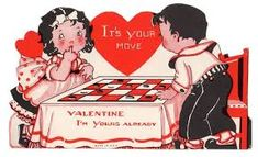 Image result for CHECKERS + VINTAGE VALENTINE CARD