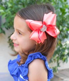 4 Satin GLAMOUR GIRL Boutique Hair Bow in CORAL by BownitaBowtique
