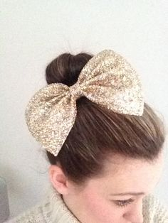 Maxi Gold Hair Bow on Etsy, $15.90