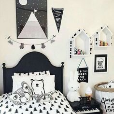 cute black and white kids room