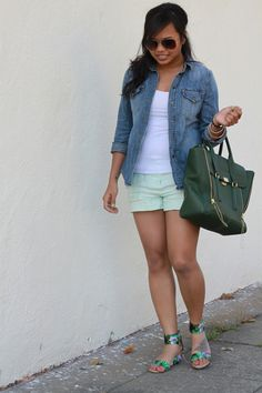 Off Kelly's Hanger: Chambray top & Mint Shorts & Floral Wedge Sandals