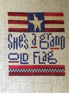 completed cross stitch Heart in Hand 4th of July Independence day flag