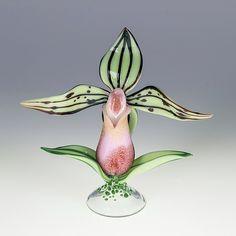 """Lady Slipper Bottle by Loy Allen (Art Glass Perfume Bottle) (6"""" x 5"""")"""
