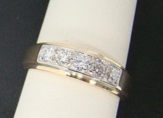 14K YELLOW GOLD MEN'S RING 1/2 CTTW 5 DIAMOND GENT'S WEDDING BAND 5.5g SIZE 9 #WithDiamonds http://www.buzzblend.com