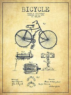 Bicycle Patent Drawing From 1891 - Vintage Drawing by Aged Pixel Velo Retro, Patent Drawing, Decoration Inspiration, Bicycle Art, Retro Bicycle, Vintage Drawing, Vintage Canvas, Vintage Bicycles, Patent Prints