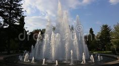 Fountain - gushing jets decorative in sunlight.