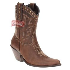 Bota Texana Feminina Castanho Bico Fino c/ Rebites no Cano - West Country