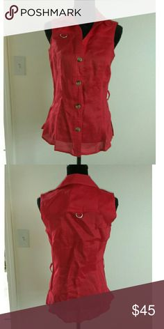 Red Sleeveless Zara Top Simple but sophisticated is what this top screams. Big buttons that are somewhat gold toned. None missing. Size S. Loose fitting . Measures 16 to 17 inches in chest. Zara Tops