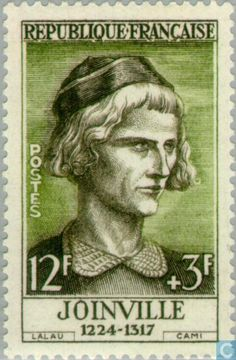 Jean de Joinville  (1224-1317). Post stamp printed in France , circa 1957