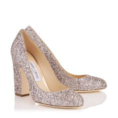 Billie 100 Round Toe Pumps with Chunky Heel in Tea Rose Metallic Coarse Glitter Fabric. Hot Heels, Sexy Heels, Fancy Shoes, Me Too Shoes, Bridal Shoes, Wedding Shoes, Shoe Warehouse, Glitter Boots, Round Toe Pumps