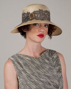 Helena, desert sand with grey, sisal hat with French lace & vintage buckle