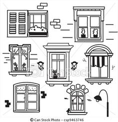 Stock Illustration - Hand drawn windows - stock illustration, royalty free illustrations, stock clip art icon, stock clipart icons, logo, line art, pictures, graphic, graphics, drawing, drawings, artwork