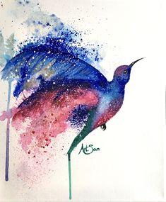 Hummingbird acrylic painting by artsan-design! Hummingbird, My Drawings, Designer, Poster, Thankful, Happy, Painting, Art, Custom Cars